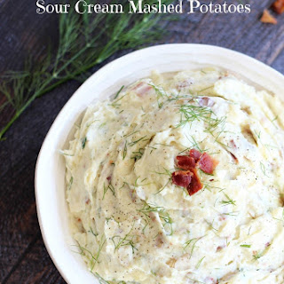 Cream Cheese, Bacon, and Sour Cream Mashed Potatoes.