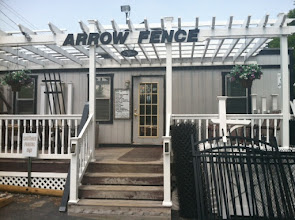 Photo: Arrow Fence Co. Inc. proudly displays their BBB Accreditation window decal at their offices in Marlboro, MA