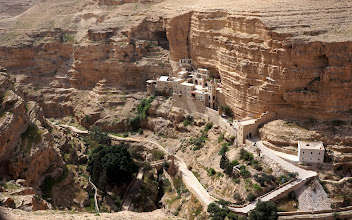 Photo: Overview of Nahal Prat / Wadi Quelt and St. George Monestary