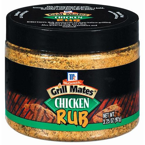 Evenly sprinkle chicken rub seasoning over all sides. (*Note: I use McCormick's Grill Mates...