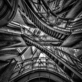 Down the Rabbit Hole by Garry Dosa - Black & White Abstract ( abstract, building, stairs, b&w, black & white, steel,  )