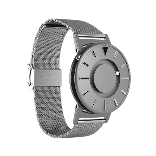 Silver Eone watch on a white background