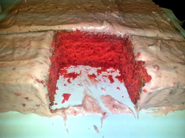 FROSTING:Cream together the butter, confectioners' sugar, 1/2 cup well-drained strawberries, and vanilla or strawberry...