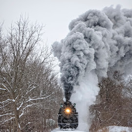 The Winter Express by Pat Eisenberger - Transportation Trains ( steam locomotive, 1225, snow, steam engine, locomotive, pere marquette, winter, train )