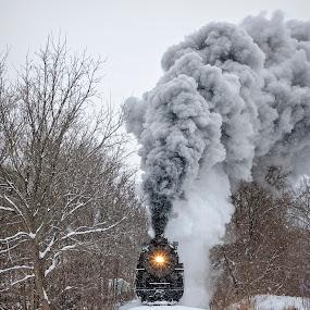 The Winter Express by Pat Eisenberger - Transportation Trains ( steam locomotive, 1225, snow, steam engine, locomotive, pere marquette, winter, train )