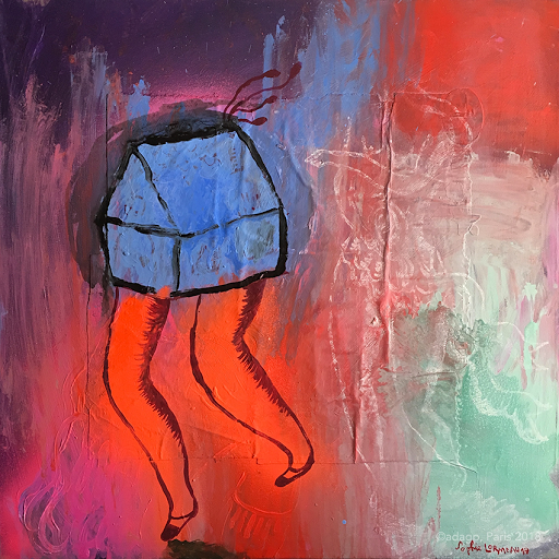 souffler-dans-le-vent-sophie-lormeau-peinture-acrylique-aerosol-ci-ollage-toile-carree-maison-jambe-enfance-artiste-art-contemporain-figuratif-singulier-colorful-dream-reve-adagp