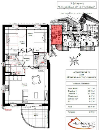 Vente appartement 3 pièces 66,36 m2