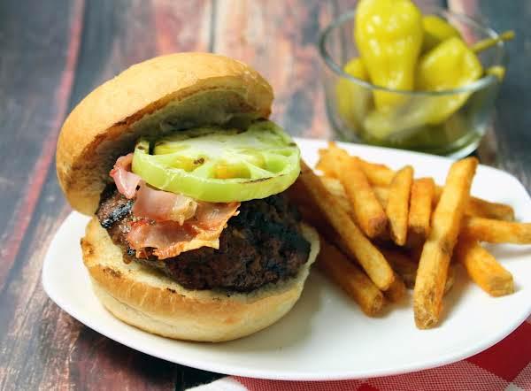 Feta And Pickled Pepper Stuffed Angus Burgers