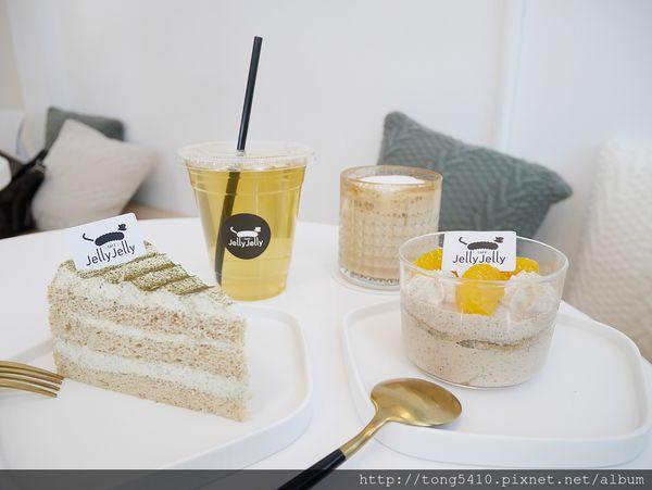 Jelly Jelly 慢工烘焙,潔白明亮好拍咖啡廳.茉莉花奶綠蛋糕擄獲一堆人的心