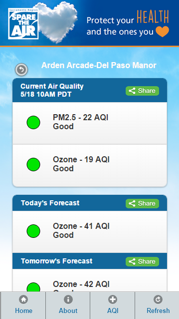 Sacramento Region Air Quality- screenshot