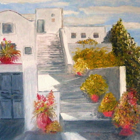 Santorini by Vesna Disich - Painting All Painting ( serbia, art, greece, vesna disch, sea )
