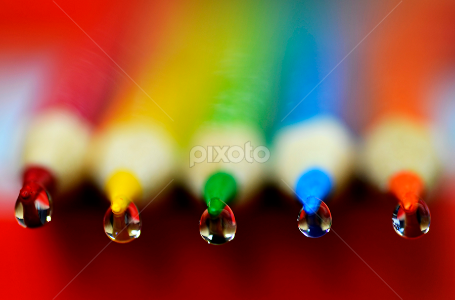 colorful drops.. by Pete G. Flores - Artistic Objects Other Objects ( color school tip oteps rounds circle pencils product art, macro closeup center green blue purple yellow,  )