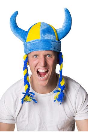 Vikingahjälm, blågul med flätor