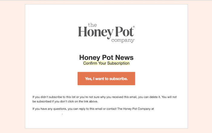 The Honey Pot subscription email.