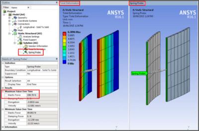 ANSYS - Деформированная форма модели и сила, действующая в пружине