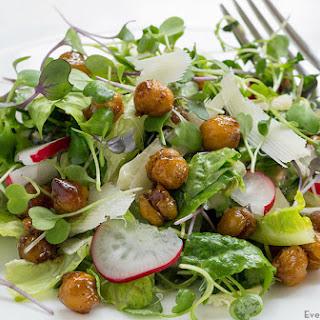 Microgreens Salad with Roasted Chickpeas.