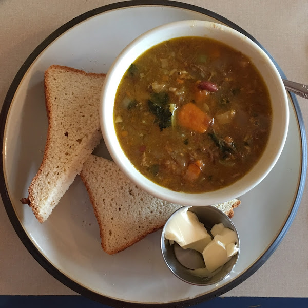 Bowl of Pork, Bean & Veggie Soup with gluten free bread. They now make their gluten free bread in house. I don't have an issue with it, but others might as this isn't a dedicated facility.