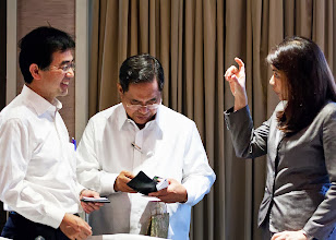 Photo: 22 August 2013 - IAFEI Asian Consultations: Tsutomo Mannari (JACFO), Past IAFEI Secretary Alfredo Parungao, Bernadette Astudillo (FINEX) during coffee break.  Tsutomo Mannari and Bernadette Astudillo are members of the International Observatory of Management Controller Committee