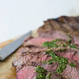 Grilled Steak with Basil Garlic Sauce.