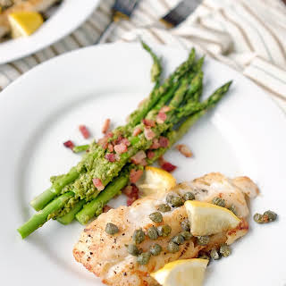 Pan Fried Cod with Pesto Bacon Asparagus.