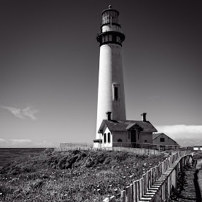 Pigeon Point #3M by Jebark Fineartphotography - Black & White Buildings & Architecture ( shipping, building, monochrome, safety, black and white, lighthouse, historical, architecture, seascape, beacon, landscape )