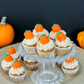 Pumpkin Carrot Cupcakes with Cinnamon Cream Cheese Frosting.