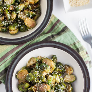 Maple Sesame Roasted Brussels Sprouts.