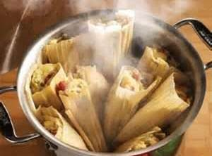Spinach, cheese & roasted pepper tamales