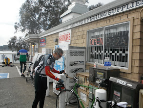 Photo: Ken sets up for a solo fixie spin southbound from Diekmann's Store, Bodega Bay harbor