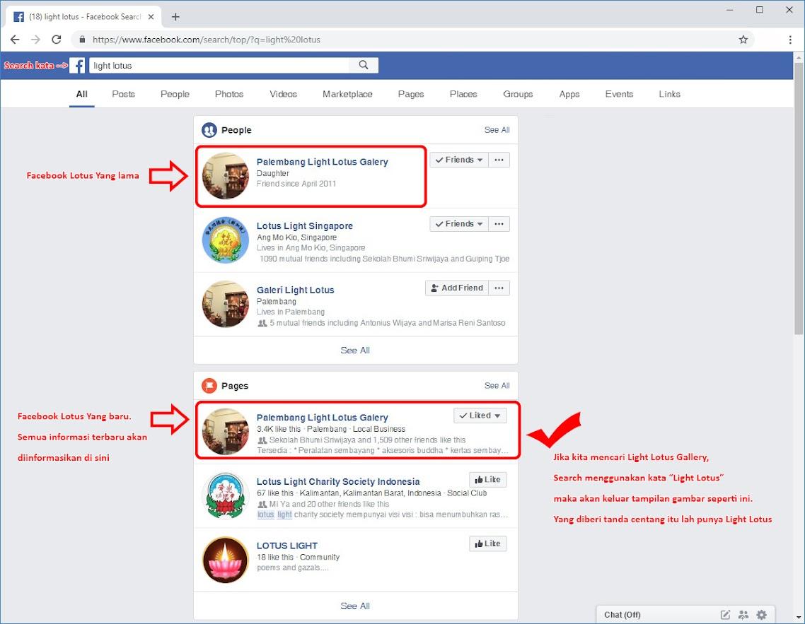 Pemberitahuan Facebook dan Email Light Lotus Gallery