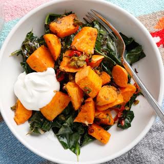 Coconut-Roasted Sweet Potatoes and Collard Greens Recipe