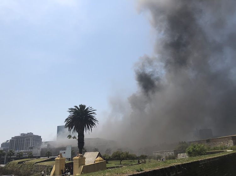Cape Town chief fire officer Ian Schnetler confirmed that two trains' consisting of three carriages per train' were burning on platforms 17 and 18.