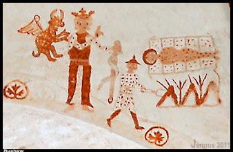 Photo: Wandmalereien aus dem 13. Jh. in der Dorfkirche Ruchow (St. Laurentius ?)