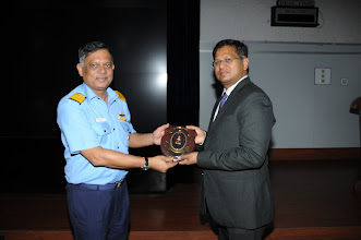 Photo: Vice Admiral P. C. Lal, Command Technical Chief, honouring Chairman Ravi Eppaturi, Computer Society of India - Mumbai Chapter, by presenting the Naval Shield for the CSI Mumbai Chapter's positive contribution to the Navy by participating in Knowledge Sharing  activities