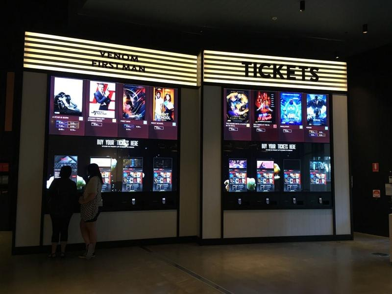 The smart video wall in a cinema. Source: DisplayDaily - Smart Video Wall - Rev Interactive