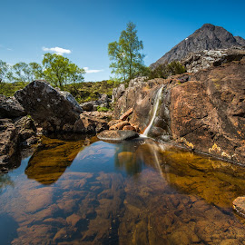 Stones world. by Haim Rosenfeld - Landscapes Mountains & Hills ( exposure, scotland, europe, mountain, colorful, waterfall, land, stone, reflections, rock, yellow, travel, north, landscape, adventure, sky, tree, kingdom, shadow, dreamlike, light, foreground, water, orange, united, uk, celtic, texture, colors, green, scottish, horizon, image, brawn, lake, scenic, highlands, photo, in, blue, outdoor, brown, scenery, stunning, britain )