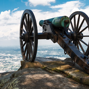 Civil War era cannon atop Lookout Mountain, overlooks Chattanoog by Paul Krug - Landscapes Travel ( skyline, chickamauga, mountain, cannons, stone, cityscape, landscape, spring, usa, war, historic, cannon, city, military, army, overlook, sky, union, civil, artillery, chattanooga, clouds, structure, park, vintage, lookout, national, green, tennessee, tourism, history, point, blue, clif, outdoors, vista, weapon, brown, antique, confederate, river )