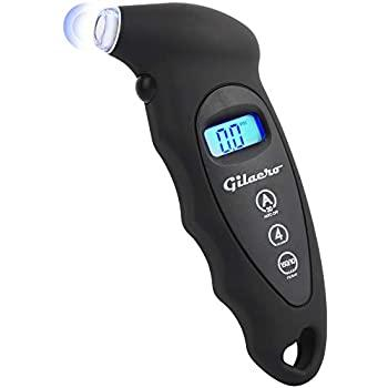 Gilaero Digital Tire Pressure Gauge 150 PSI 4 Settings for Car Truck Motorcycle Bicycle Backlit LCD Lighted Nozzle Non-Slip Grip