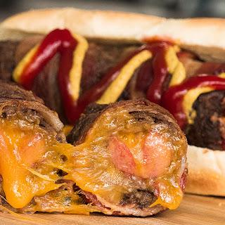 Molten Cheese-Cored Bacon Burger Dogs