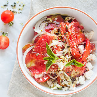Tomato Salad with Feta Cheese, Onion and Pumpkin Seed Oil Recipe