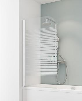 """Badewannenaufsatz 1-tlg. pendelbar, 800x1400 mm, Alpinweiß, Sicherheitsglas (ESG), Dekor """"Querstreifen"""""""