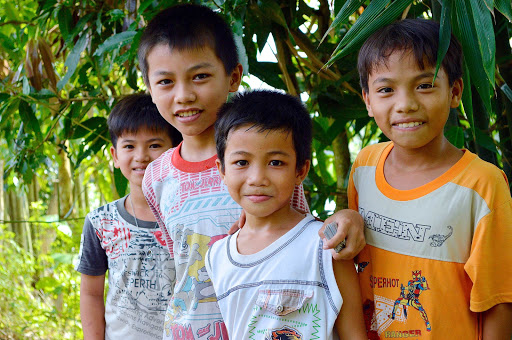 Children encountered in a local village in Vietnam. Children in particular wanted to practice their English.