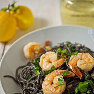 Squid Ink Spaghetti with Shrimp and White Truffle Oil.