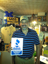 Photo: Barry Gass, owner of Gass Horse Supply proudly displaying their BBB Accreditation.