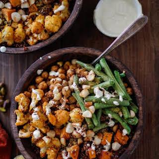 Roasted Sweet Potato, Cauliflower, Chickpea, and Green Bean Quinoa Buddha Bowls with Cashew Cream Sauce.