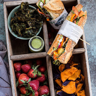 California Rainbow Veggie Sub with Goddess Dressing + Chipotle BBQ Ranch Kale Chips..
