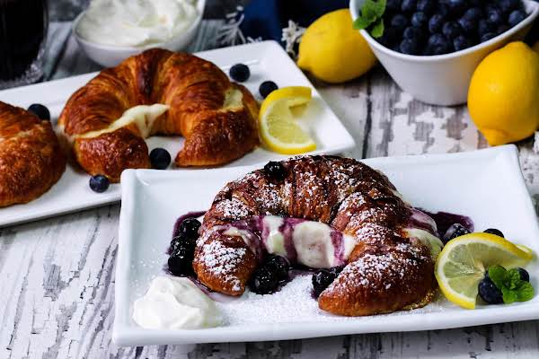Lemon Cream Brunch Croissants With Maple Blueberry Syrup.