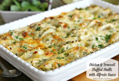 Click Here for Recipe: Chicken And Broccoli Stuffed Shells With Alfredo Sauce...