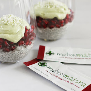 Pomegranate Coconut Chia Pudding with Matcha Coconut Whipped Cream Recipe