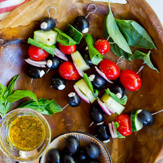 Goat Cheese Stuffed Black Olive Mediterranean Kabobs.